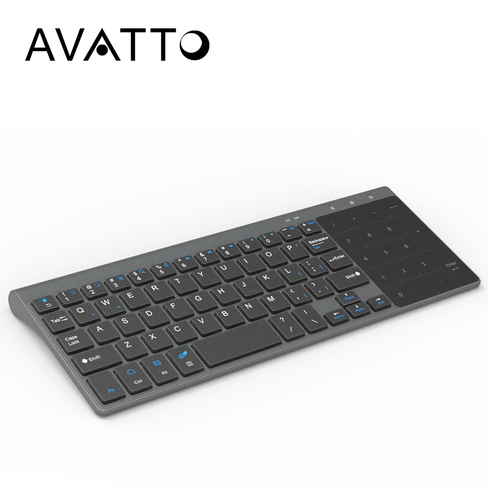 [AVATTO] Thin- size 2.4G USB Wireless Mini Keyboard with Number Touchpad Keypad for android windows ios Tablet,Desktop,Laptop,PC