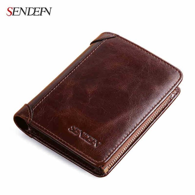 Sendefn Genuine Leather Men Wallets Money Bag Small Wallet Short Male Purse First Layer Of Cowhide Wallet Men Fashion  Purses