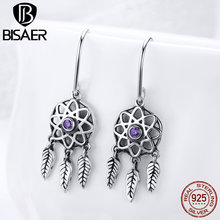 Bohemia DreamCatcher 925 Sterling Silver Vintage Feather Tassels Round Drop Earrings For Women Holiday Silver Jewelry HSE394
