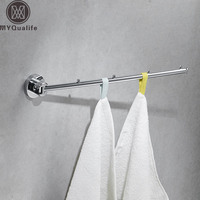 Free Shipping Flexible Tower Bar Wall Mounted Brass 180 Degree Rotate Bathroom Towel Rod Towel Hooks