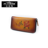 2018 Card Holder Long Standard Wallets Natural Handmade Leather Women's Purse Days Clutches Flowers Design Wallet Female