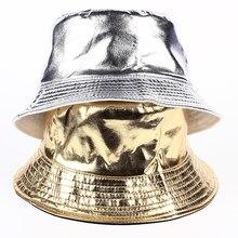 2017 nova hip hop Casual tide marca de Ouro e prata cor Brilhante chapéu de balde  balde chapéus de moda homens de couro camping . 94da6efa693