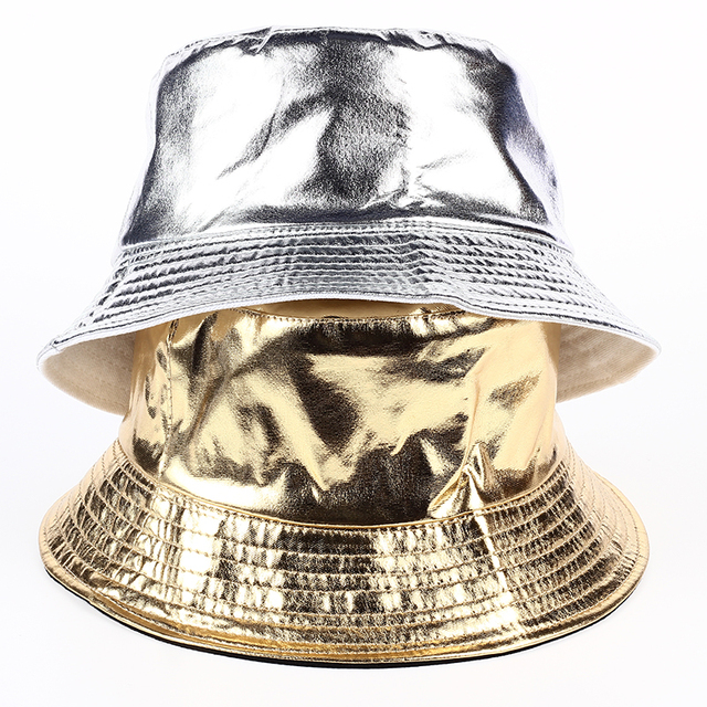 newest 6564b b2545 2017 new hip hop Casual tide brand Gold and silver Bright color bucket hat  leather bucket hats fashion men camping fishing hat