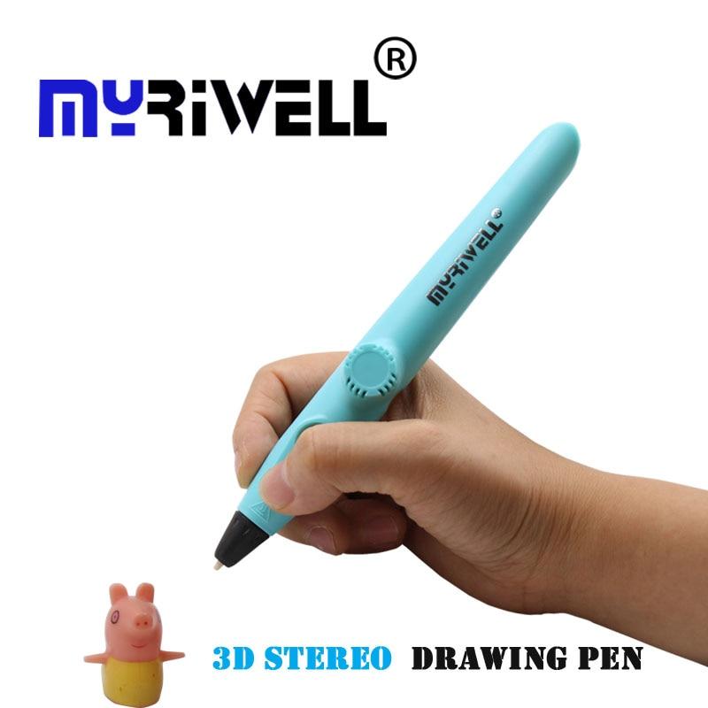 Myriwell rp-200a 3D Ручка низкая температура защиты с помощью pcl Материал бесплатная нити для малыша игрушка в подарок 5 В 2A USB 3D-ручки 3 цвета