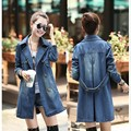 2015 otoño moda mujeres Casual manga larga bolsillos doble botonadura de mezclilla floja Trench Coat Ladies Jeans Coat 1082