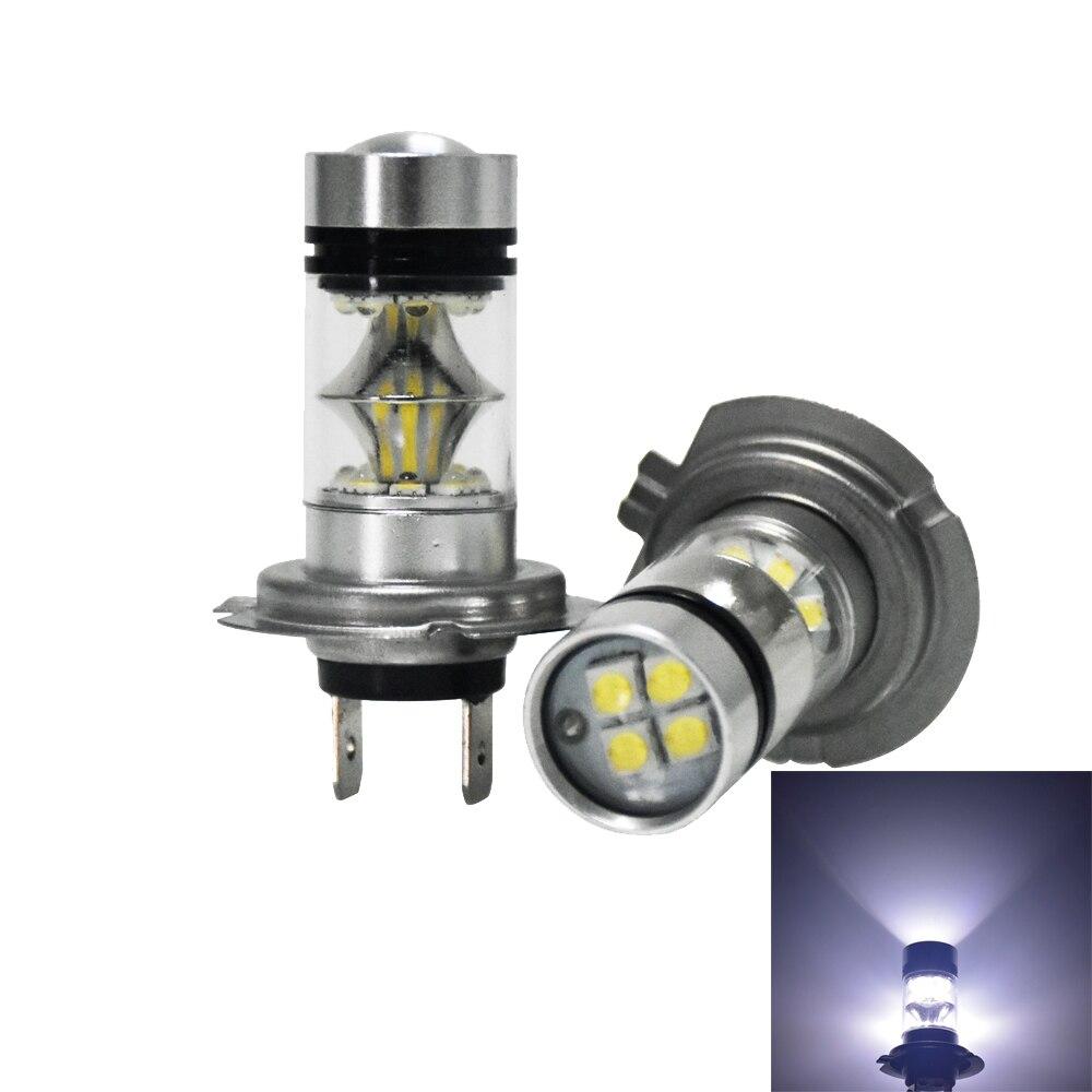 2pcs 100W H7 LED Light 20 SMD Car Fog Lamp DC 12V~24V 360 Degree White External light For Audi A3 A4 A6 Q3 Q5 Q7 highlight h3 12w 600lm 4 smd 7060 led white light car headlamp foglight dc 12v
