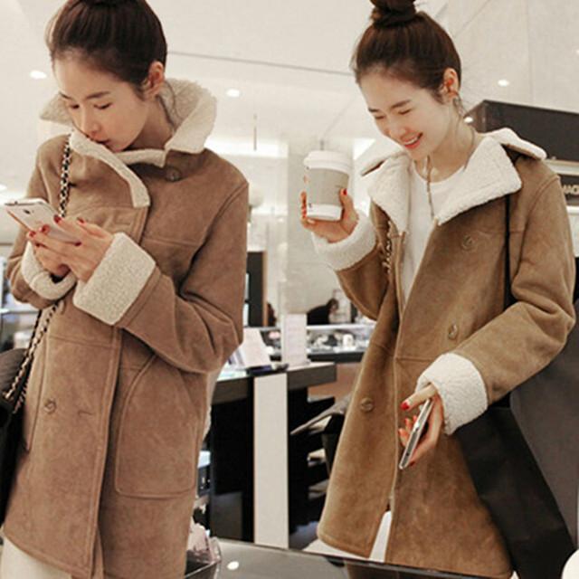 2016 Otoño invierno nuevas mujeres de Corea del párrafo largo Delgado espesar corderos de lana de algodón abrigo fack ante grandes solapas chaqueta mujeres