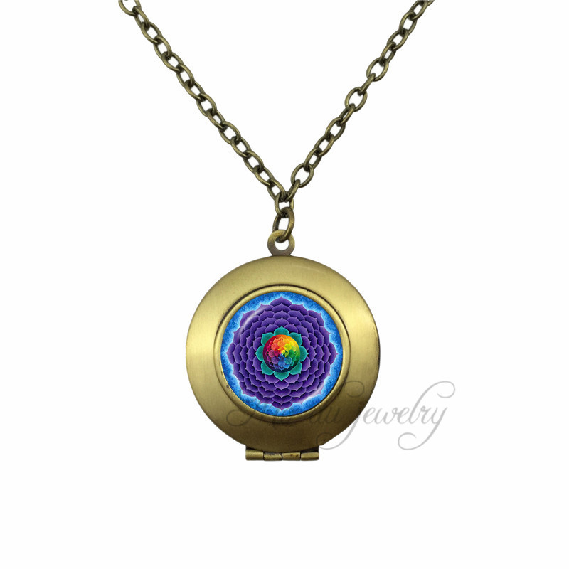 Lotus Locket Pendant Mandala Choker Om Symbol Zen Necklace