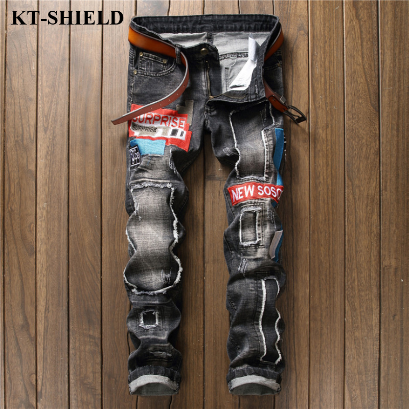 Fashion Men Jeans Biker Ripped Mens Brand designer Denim Trousers Masculina Vintage Slim fit Men Jean Pans Pantalones Homme 2017 fashion patch jeans men slim straight denim jeans ripped trousers new famous brand biker jeans logo mens zipper jeans 604