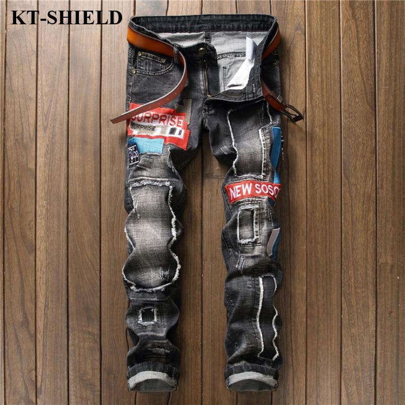 Fashion Men Jeans Biker Ripped Mens Brand designer Denim Trousers Masculina Vintage Slim fit Men Jean