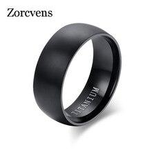 ZORCVENS модное мужское черное титановое кольцо матовое готовое классическое помолвка Анель ювелирные изделия для мужчин обручальные кольца