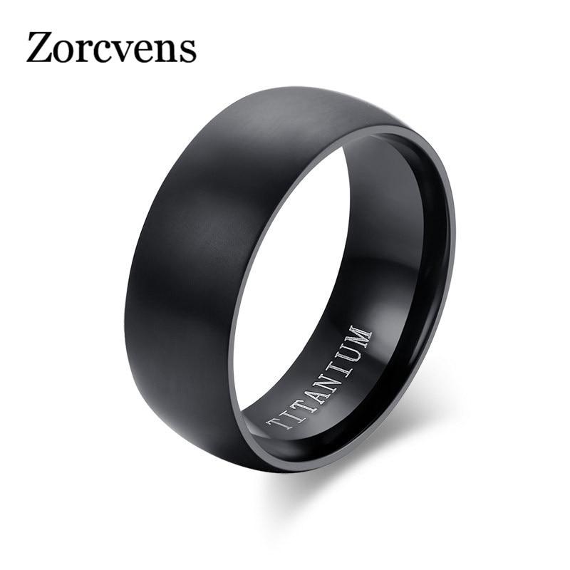 Мужское матовое кольцо ZORCVENS, классическое обручальное кольцо черного цвета из титана, свадебные украшения для мужчин