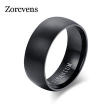 ZORCVENS Fashion Men's Black Titanium Ring Matte Finished Classic Engagement Anel Jewelry For Male Wedding Bands(China)