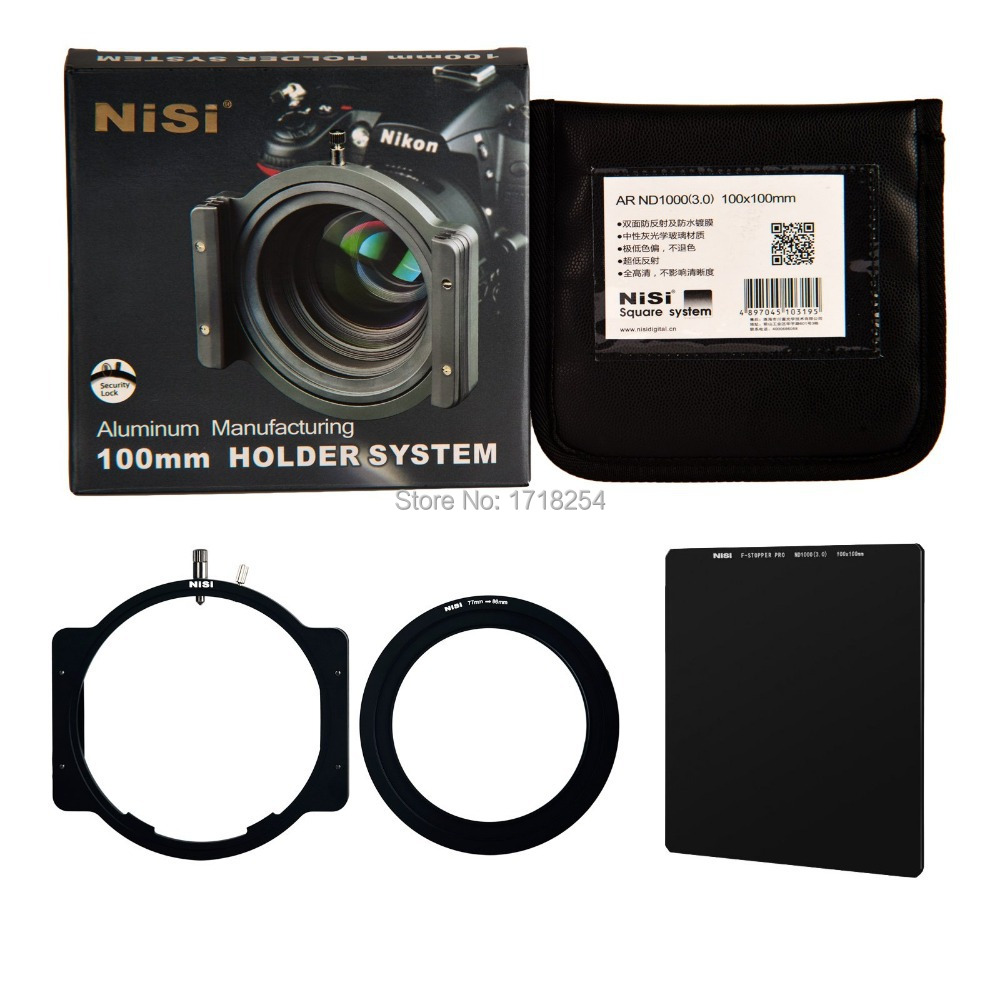 NiSi 77mm ND1000 Big Stopper Kit 100mm Optical HD Glass ND Square Filter as LEE square Filter holder brackets Blade System
