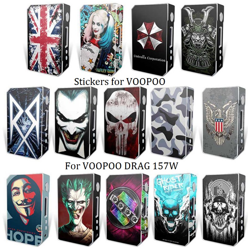 14 Colors Electronic Cigarette Stickers For VOOPOO DRAG TC 157W Box Mod Skin Cover Sticker