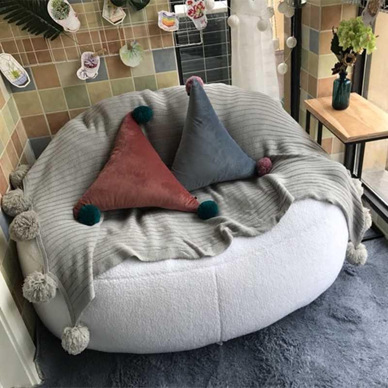 Alta Qualidade Cordeiro Veludo Camas Beanbag Cadeira Preguiçosa Cadeira Do Computador Sala de estar Mobiliário Sofá do Saco de Feijão Espreguiçadeira Cadeiras 2 Tamanho