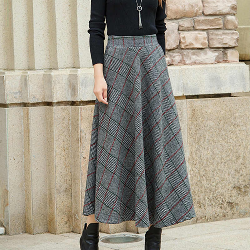 fe76cf1d2b ... High Waisted Woolen Maxi Skirts Women Winter 2018 Fashion Plaid Wool  Skirt Ladies Casual Warm Thick ...