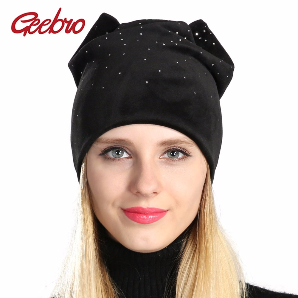 Geebro Women's Beanie Hat Winter Casual Warm Cat Ear Slouchy Beanies With Rhinestones For Women Skullies Beanies Hats for Female