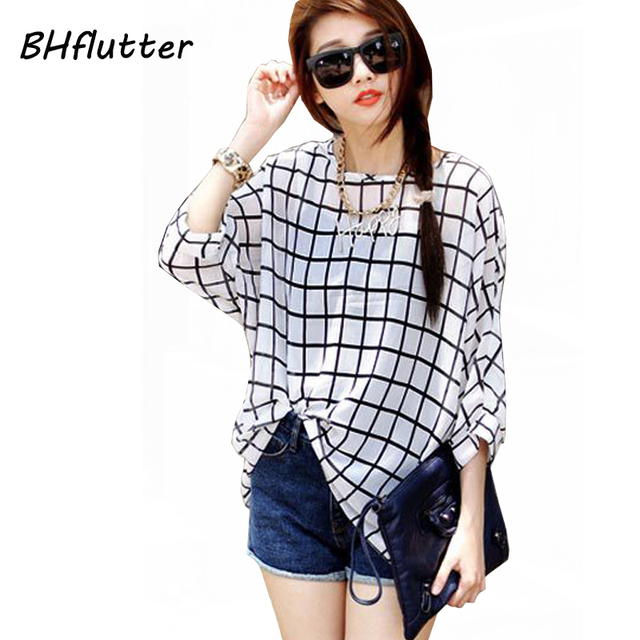 Chiffon Shirts 6XL Plus Size Women Clothing 2018 Novelty Plaid Print Summer Blouses Batwing Sleeve Women's Casual Tops Blusas