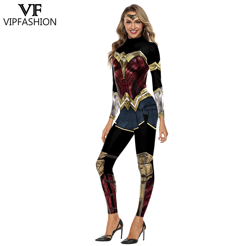 VIP FASHION Wonder Women Girl Costume Cosplay Bodysuit X-Men Team Super Hero Printed Halloween Costumes For Women