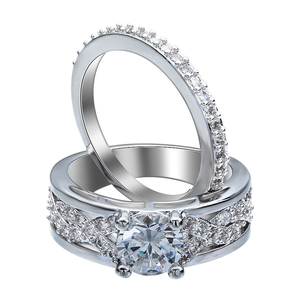 2pc Silver Plated Engagement Ring Sets For Women Luxury Cheap Girl Friends  New Design 2016 Cross