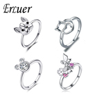 ERLUER Fashion Rings for Women Silver Charm Wedding Ring Mickey Cat Dog shape Jewelry Girl Engagement Friendship Valentine Gifts