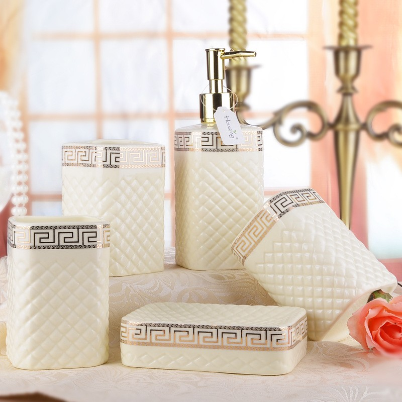 Five piece Ceramic Set White or Ivory porcelain wash set Bath Series Bathroom Accessory Eco friendly
