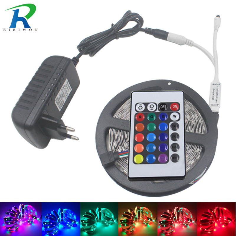 5M RGB Led Strip Light SMD 2835/3528 Waterproof Flexible Light Strip 24Keys Remote Controller led Kit Diode Tape+DC 12V Adapter riri won smd5050 rgb led strip waterproof led light dc 12v tape flexible strip 5m 10m 15m 20m touch rgb controller adapter