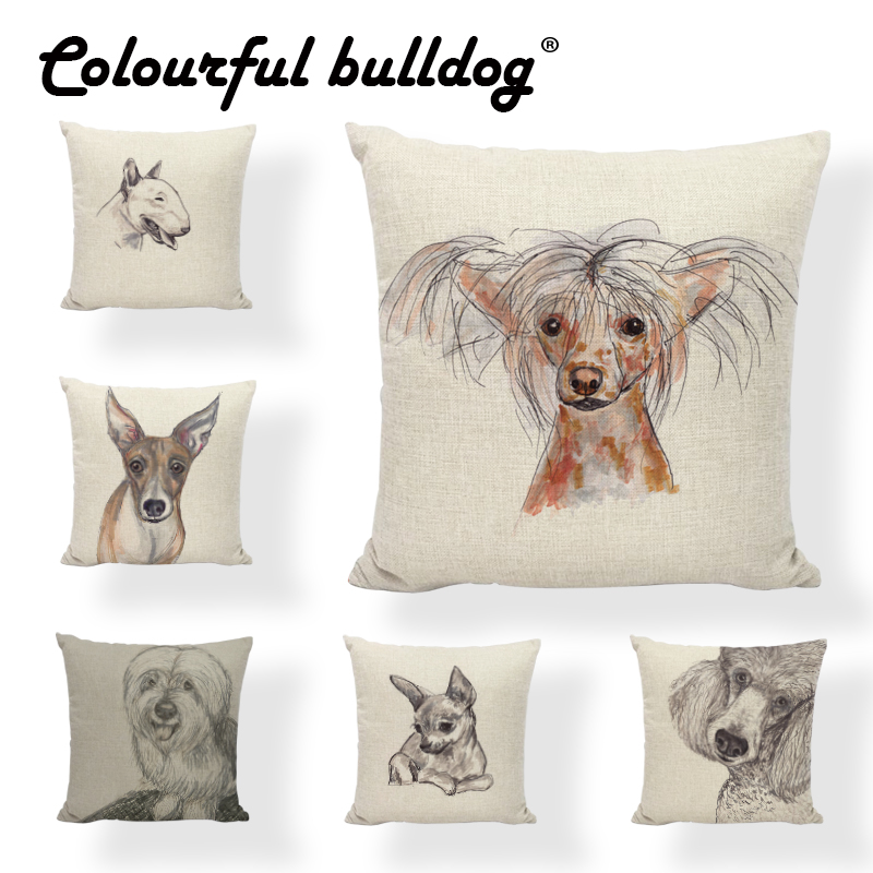 Cushion Covers Chinese Crested Dog Chihuahua Greyhound Polish Lowland Sheepdog Dachshund Labrador Pillowcase Home Couch Decor