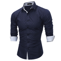 Men Shirt 2017 Spring New Fashion Brand Business Men Casual Shirt Grid Dress Shirt Men Slim