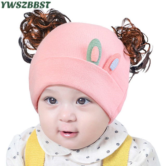 b42125ae713 Fashion Baby Girls Hats with Wig Newborn Infant Hats Cotton Baby Caps  Spring Autumn Baby Beanies 0-12M Toddlers Hats