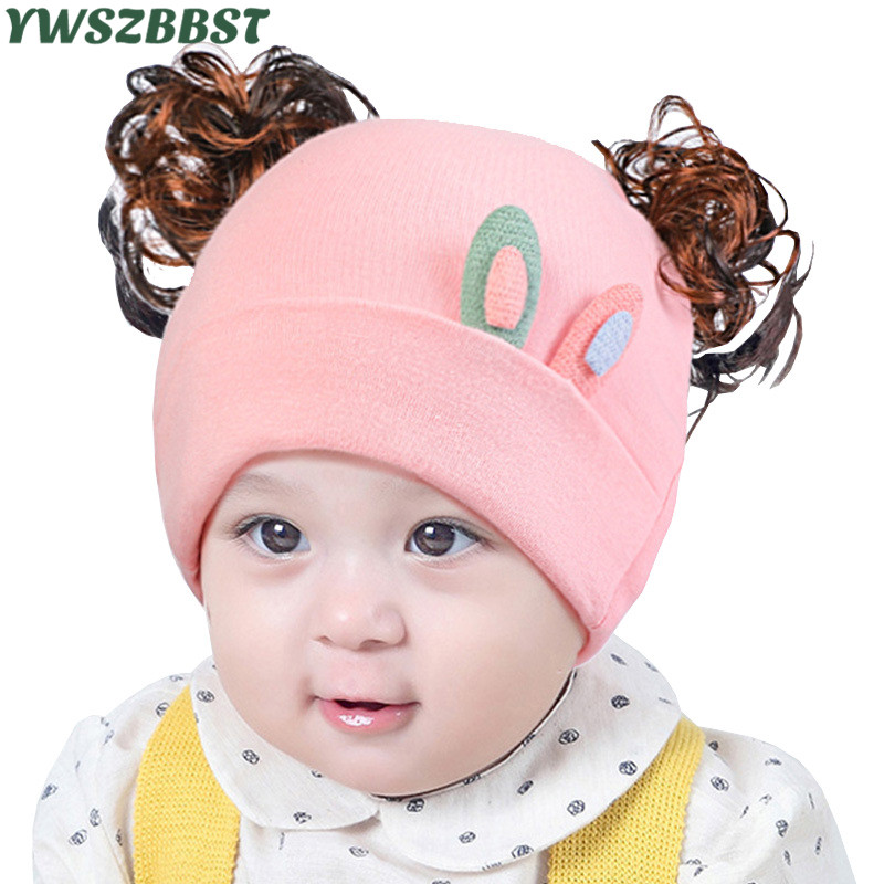 Fashion Baby Girls Hats with Wig Newborn Infant Hats Cotton Baby Caps Spring Autumn Baby Beanies 0-12M Toddlers Hats