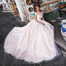 Swanskirt 3D aplikler A Line düğün elbisesi 2020 Boho tekne boyun tül mahkemesi tren gelin kıyafeti artı boyutu Vestido De Noiva N111