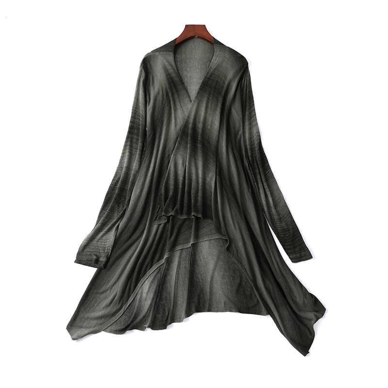 Летний женский тонкий свитер кардиган Свитер большого размера Платок Длинный черный кардиган в полоску Элегантная ко
