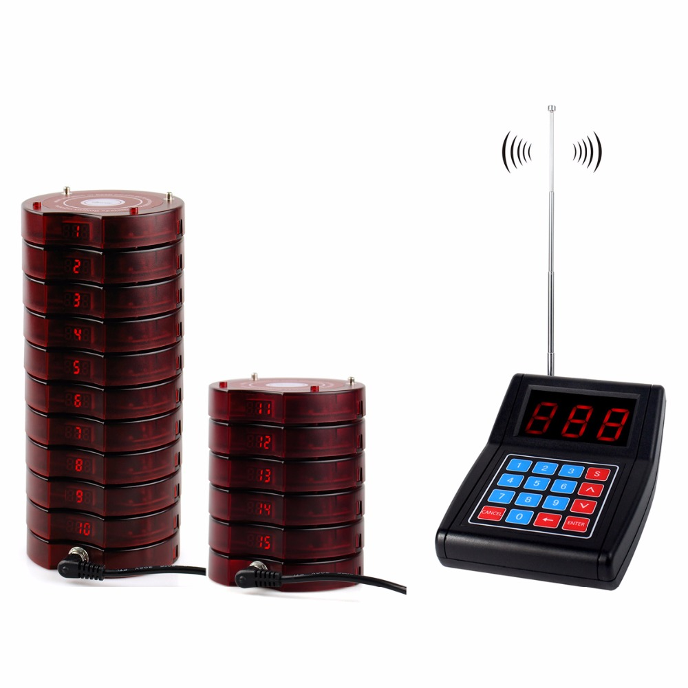 1 Transmitter+15 Coaster Pagers Chargeable Restaurant Pager Wireless Paging System Waiter Call Restaurant Equipments F4475 wireless pager system 433 92mhz wireless restaurant table buzzer with monitor and watch receiver 3 display 42 call button
