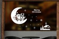 Natale anziani piccoli alci fiocco di neve Atmosfera del festival decorazione Negozio negozio porta dell'ufficio decorazione sticker window sticker