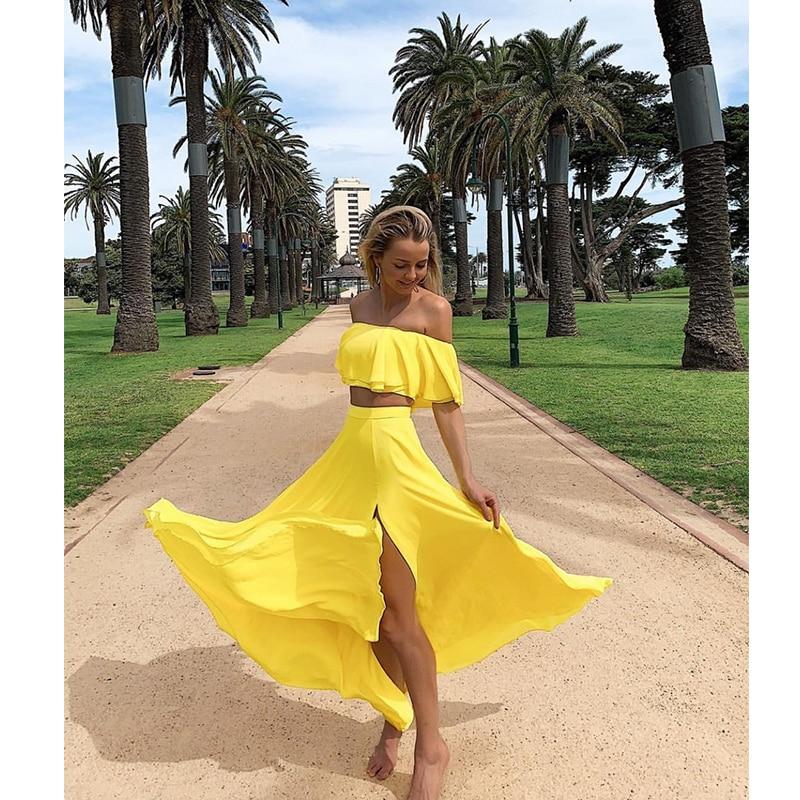 Summer Ruffles Beach Maxi Dress Padded Slash Neck Off Shoulder Yellow Long Chiffon Dress Hollow Out Leg Split Front