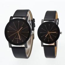 Caliente moda clásicos de cuero negro amante relojes pareja creativa de  regalo para los amantes de geométrico de cuarzo de lujo . fd0043d2165b