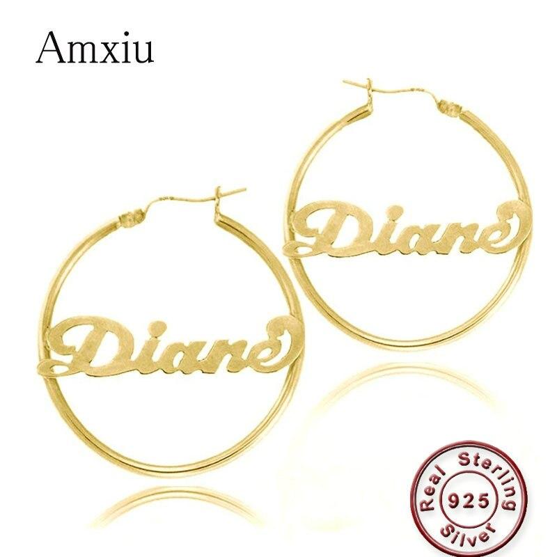 Amxiu 100% 925 Sterling Silver Earrings Personalized Jewelry Engrave Name Earrings For Women Girls Custom Any Name Drop Earrings