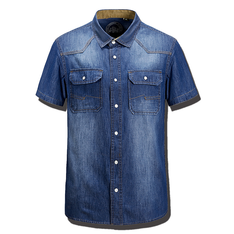 2ae9b059fc5 Summer Fashion Mens Denim Shirts Water Washing Cotton Brand Short Sleeve  Blue Pocket Brand Clothing Man s