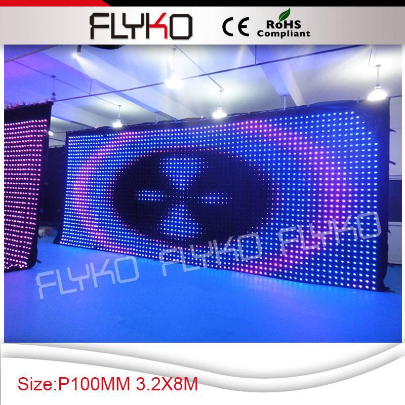 Flyko сценический Индивидуальный размер led P100MM dJ Гибкая панель шоу светодиодный экран