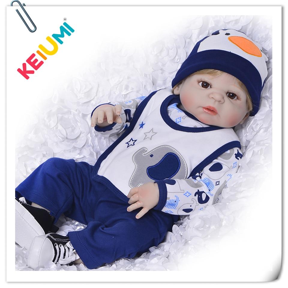 23 Inch Lifelike Baby Reborn Full Body Silicone Vinyl Reborn Babies Dolls 57 cm Realistic Newborn Doll Boy Children's Day Gifts цена