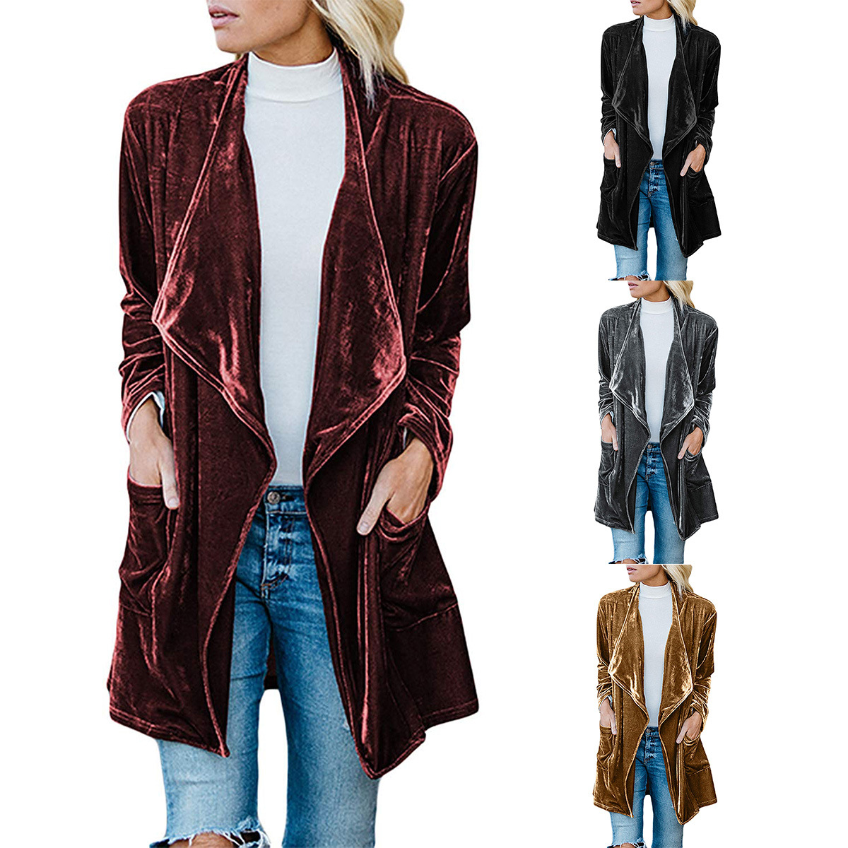 turn-down collar velvet coat   trench   korean fashion clothing solid open stitch wide-waisted long coat women clothes 2018 autumn