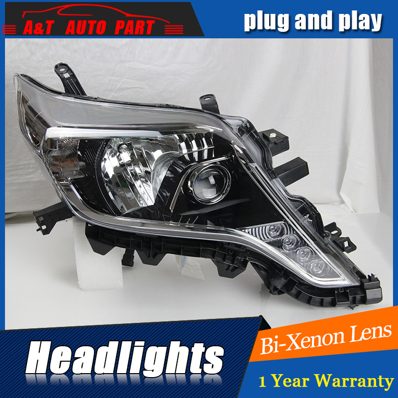 car styling For Toyota Prado headlight 2014 For Toyota Prado bi xenon lens h7 xenon экшн камера gopro sj4000 red