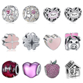 WYBEADS Unique Silver Beads Hearts Love Family Charm European Fit Pandora Style Bracelets & Bangles DIY Accessories Jewelry