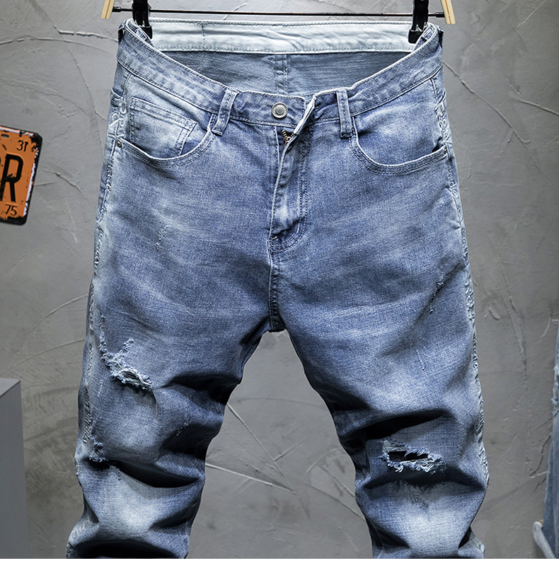 KSTUN 2019 Men Jeans Slim Fit Light Blue Elastic Hollow Out Ripped Feet Jogger Pants Male Leisure Modis Trend Streetwear Jeans Homme 13