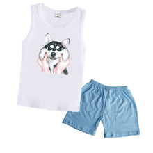 hot deal buy 2019 baby boys clothing sets summer girls clothes sleeveless t shirt + short pants cotton sports suits children 2 3 4 5 years