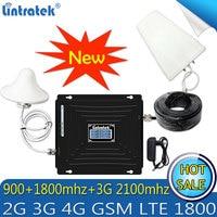 Lintratek 2 г 3g 4G Tri band сотовый телефон усилитель сигнала 70dB GSM 900 LTE 1800 WCDMA 2100 мГц Celular повторителя усилитель 4G антенны