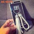 Корея Серебряное Зеркало Кисточкой Телефон Case Для Apple iPhone 5s 6 4.7 дюймов 6 Плюс 5.5 Роскошный Металлический круг Мягкая Задняя Крышка