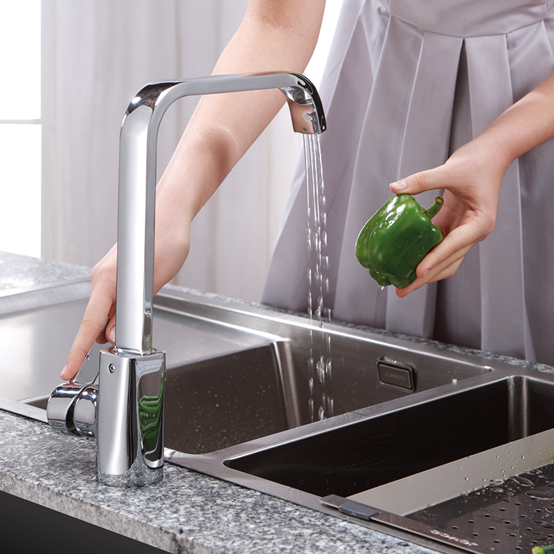 JOMOO Kitchen Faucet Chrome Sink Faucet Mixer Tap Kitchen Brass Single Handle Single Hole Torneira cozinha Square Shape jomoo brass kitchen faucet sink mixertap cold and hot water kitchen tap single hole water mixer torneira cozinha grifo cocina